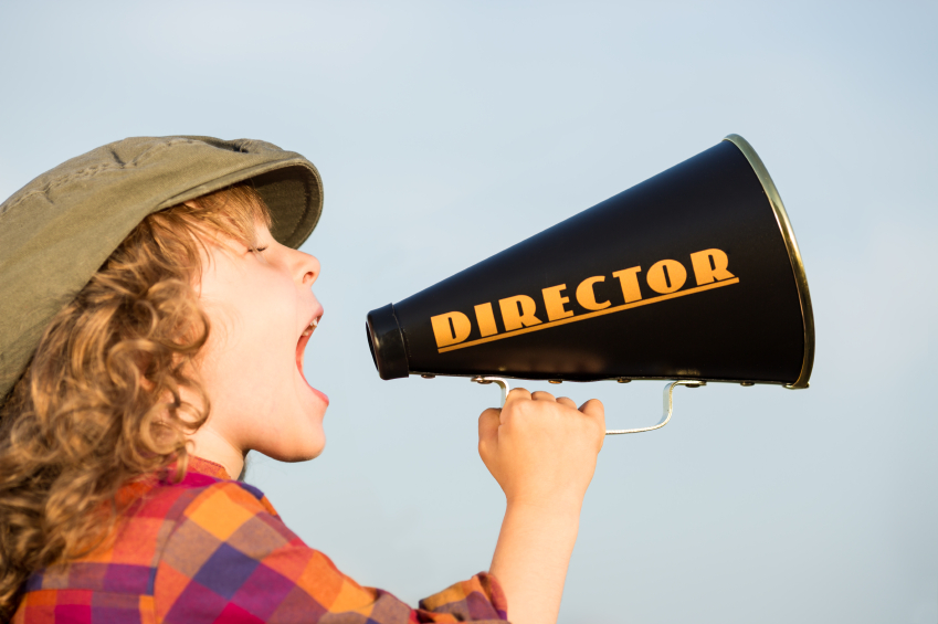 Director shouting through megaphone